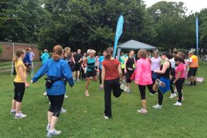 Begs warm up at parkrun